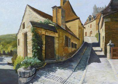 Kay-Zetlmaier-Beynac-SW-France-30x40-3-d - wood-relief-oil