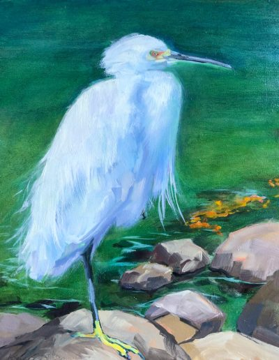 Kay-Zetlmaier-Egret-Balancing-Act-oil on wood panel-10x8-oil